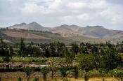 Bewohnte Hügel-Landschaft